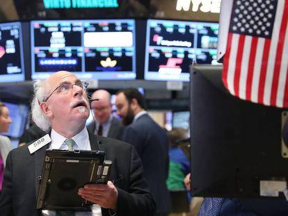 Inversores en Wall Street, anoche.