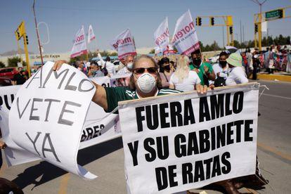 Una protesta contra López Obrador en Ciudad Juárez, en octubre.