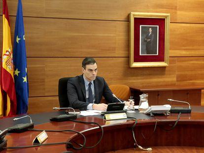 Pedro Sánchez, en La Moncloa, este 29 de marzo.