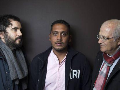 Javier, Mohammed y Claudio en Madrid.