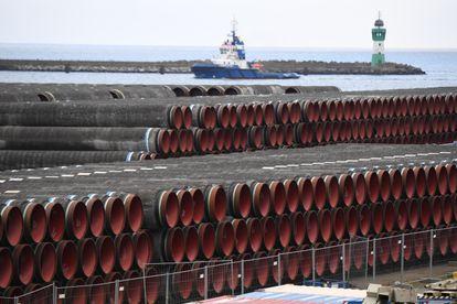 Tuberías para la construcción del Nord Stream 2, el pasado enero en el puerto de Sassnitz (Alemania).