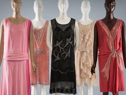Un grupo de vestidos rosas en la exposición 'Pink: The History of a Punk, Pretty, Powerful Color'.