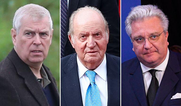 El príncipe Andrés de Inglaterra, el rey emérito Juan Carlos y el príncipe Lorenzo de Bélgica.