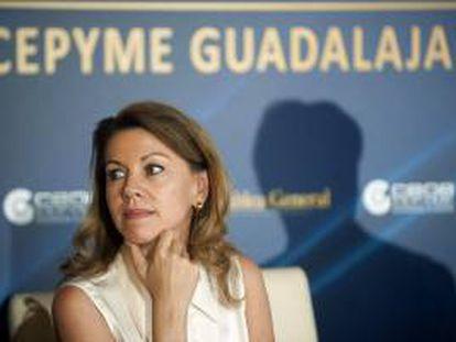 La presidenta del Gobierno de Castilla-La Mancha, María Dolores de Cospedal, durante la clausura de la 35 asamblea de la confederación provincial de empresarios CEOE-CEPYME de Guadalajara.