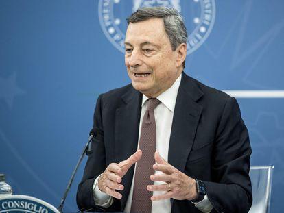 El primer ministro italiano, Mario Draghi, en una rueda de prensa este jueves, en Roma.