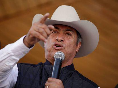 Jaime Rodríguez Calderón, El Bronco, en un acto en Ciudad Juárez.