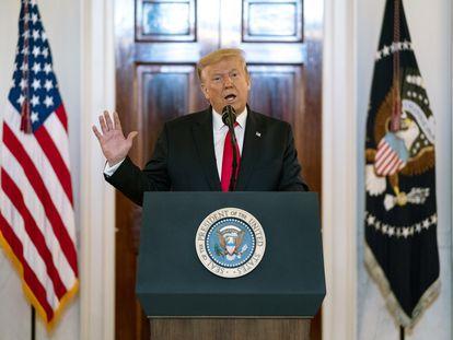El presidente Donald Trump durante una conferencia de prensa.