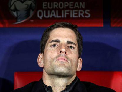 Robert Moreno en su último partido como seleccionador de España el 18 de noviembre.