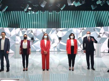 Desde la izquierda, Pablo Iglesias, Rocío Monasterio, Mónica García, Isabel Díaz Ayuso, Ángel Gabilondo y Edmundo Bal, durante el debate del miércoles.