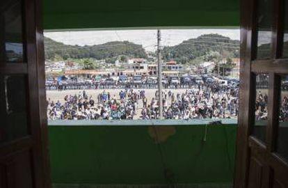 Vista de la plaza de San Juan Chamula desde el balcón del Ayuntamiento