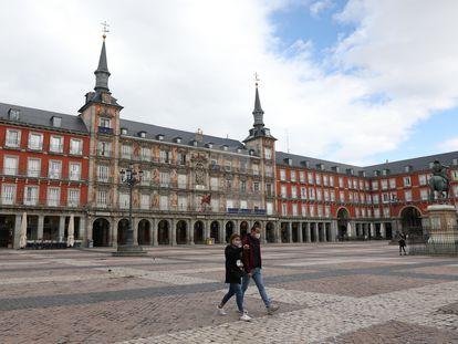 La plaza Mayor de Madrid, este viernes.