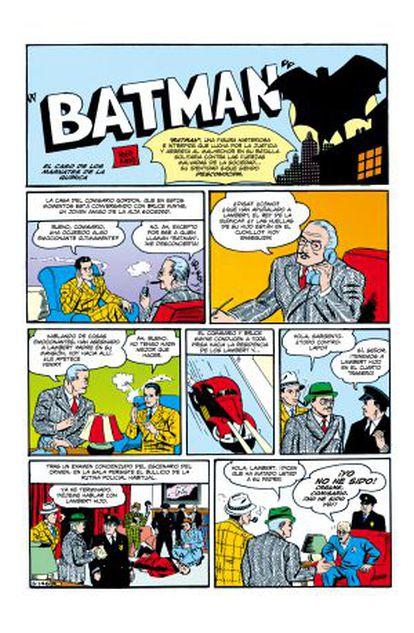 Primera página de Batman en el cómic, las viñetas que abren el 'Detective comics #27'.