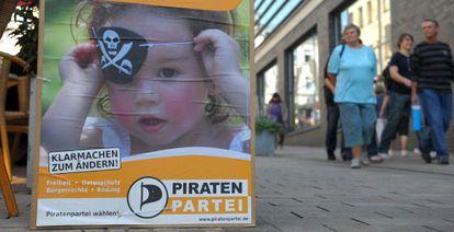 Cartel electoral del Partido Pirata alemán Thuringia, en 2009.