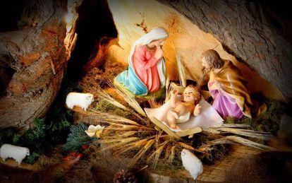 Imagen de un belén que representa el nacimiento de Jesús.