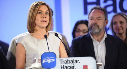 Dolores de Cospedal valora los resultados electorales el 24 de marzo.