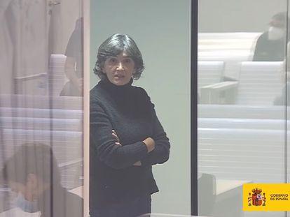 La etarra Anboto, durante el cuarto juicio celebrado contra ella esta semana, en una imagen cedida por el Ministerio de Justicia.