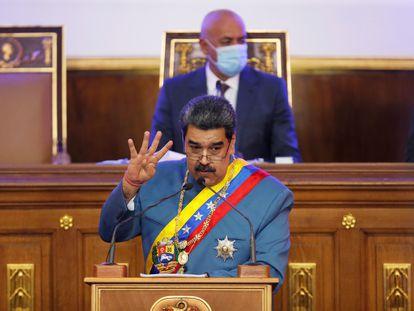 Nicolás Maduro, presidente de Venezuela, en la Asamblea Nacional, este martes.
