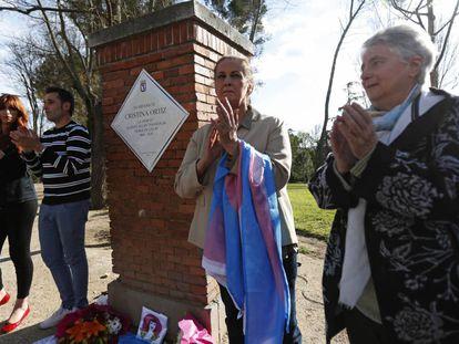 Inauguración de la placa en homenaje a La Veneno en el Parque del Oeste.