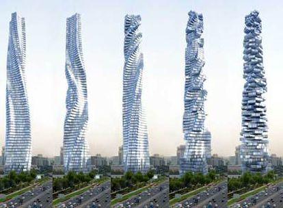Imágenes del proyecto diseñado por el arquitecto David Fisher que reflejan la rotación de la torre.