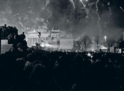 Celebración del fin de año de 1989 en la Puerta de Brandeburgo