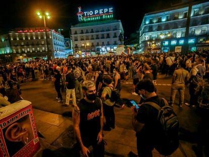 Manifestación contra las agresiones homófobas, el pasado jueves en la Puerta del Sol.