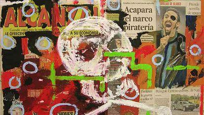 Las obras de Salvador Díaz son comentarios visuales de las páginas de los periódicos.