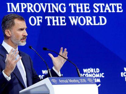 Felipe VI durante su discurso en el Foro Económico de Davos este miércoles.