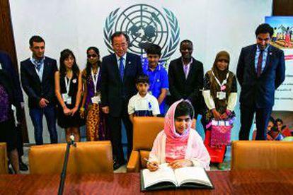 Malala Yousafzai, durante su visita a la sede de Naciones unidas el 12 de julio.