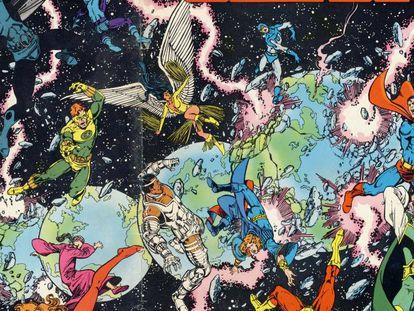Detalle de la portada de 'Crisis en las Tierras Infinitas'.