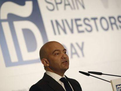 El secretario de Estado de Comercio y Presidente del ICEX, Jaime García-Legaz, durante su intervención en la inauguración del Spain Investors Day