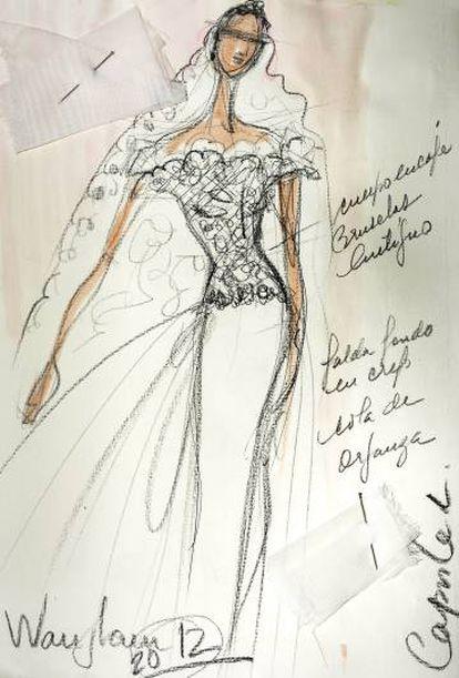 Bocetos de tres vestidos dibujados por Lorenzo Caprile.