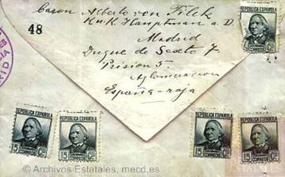 Reverso del sobre de la carta enviada por Filek el 25 de junio de 1937 desde la cárcel a su tío Alfred en Austria.