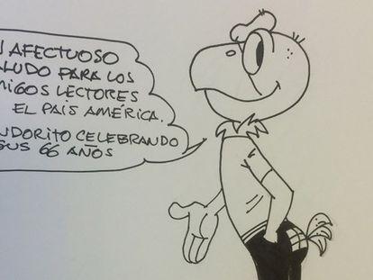 El dibujante Juan Plaza da vida a Condorito, que saluda a los lectores de El País América.