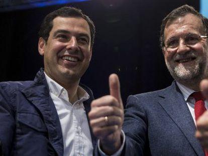 El candidato del PP, Juan Manuel Moreno, y Rajoy, en un acto en Málaga.