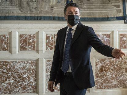 Matteo Renzi, líder de Italia Viva, en una rueda de prensa, este viernes en Roma.