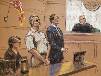 Genaro García Luna y su abogado comparecen ante el juez Brian Cogan el 21 de enero en Nueva York.