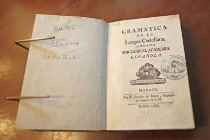 Spanish grammar of the Royal Academy of the Language, published in 1771.