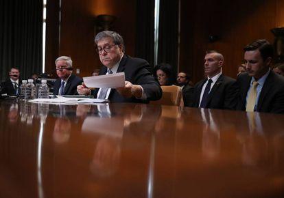 El fiscal general de EE UU, William Barr, en el Senado el pasado 10 de abril.