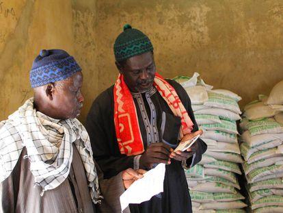 Granjeros senegaleses forman parte de un programa de subsidios para emprender sus negocios de compra y venta de semillas.