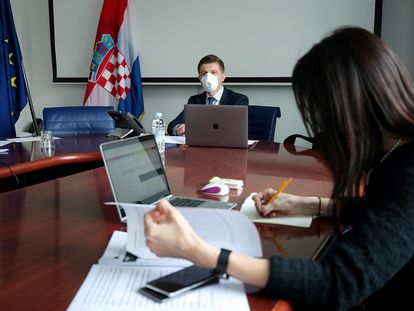 Zdravko Marić, ministro de Finanzas de Croacia, este lunes en Zagreb.