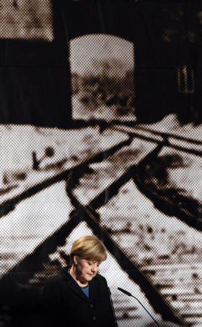 Angela Merkel, este lunes en una ceremonia en Auschwitz.