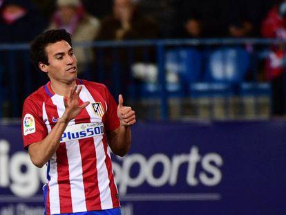 Gaitán celebra su gol al Betis.