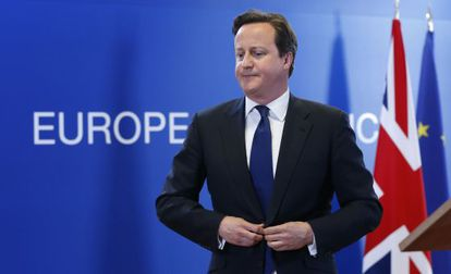 David Cameron durante una conferencia de líderes europeos en Bruselas.