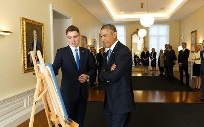El presidente Obama durante su encuentro con el primer ministro de Estonia, Taavi Roivas.