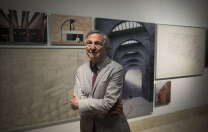 Rafael Moneo, en su exposición en el Thyssen, en Madrid.