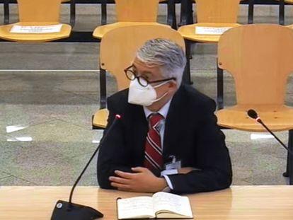 El director de EL PAÍS, Javier Moreno, durante su declaración como testigo en el juicio de la caja b del PP, este jueves.