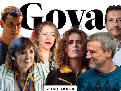 Algunos de los ganadores de los Goya 2021.