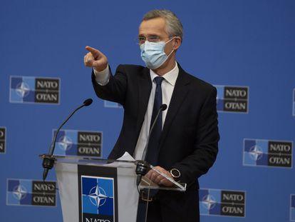El secretario general de la OTAN, Jens Stoltenberg, en rueda de prensa este jueves en Bruselas.