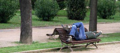 Un hombre se echa la siesta en un parque de Barcelona.