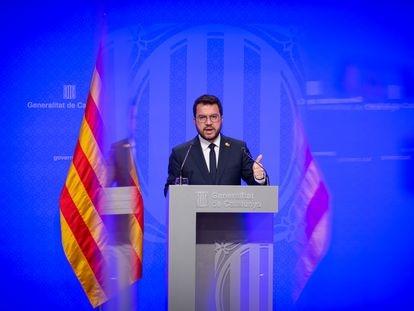El presidente de la Generalitat, Pere Aragonès, este martes en rueda de prensa.